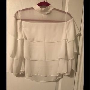 suzy shier sheer tiered blouse